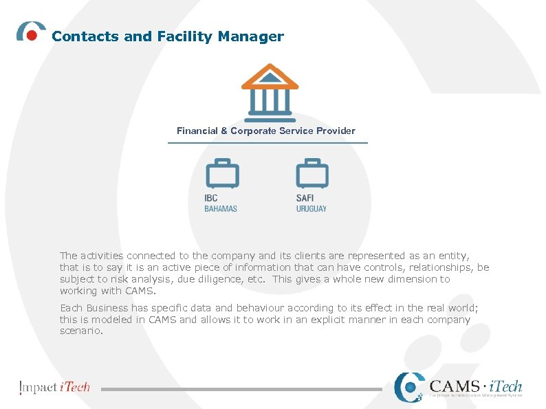 Contacts and Facility Manager Financial & Corporate Service Provider The activities connected to the