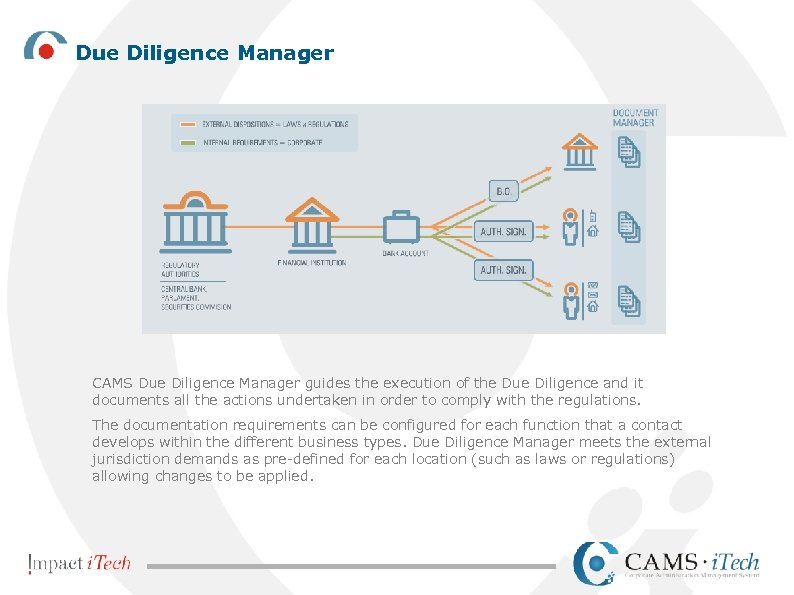 Due Diligence Manager CAMS Due Diligence Manager guides the execution of the Due Diligence