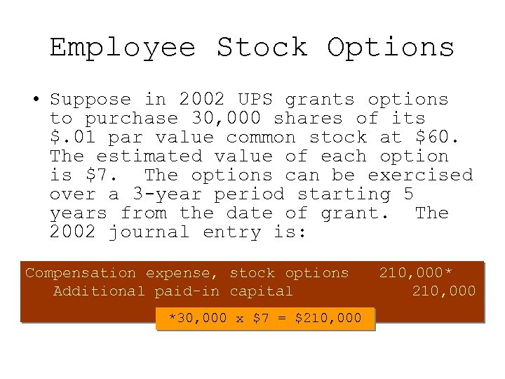 Employee Stock Options • Suppose in 2002 UPS grants options to purchase 30, 000