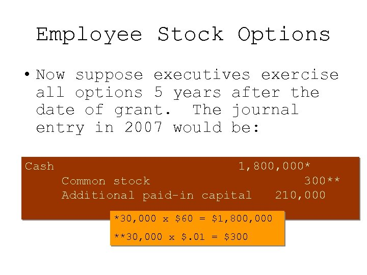 Employee Stock Options • Now suppose executives exercise all options 5 years after the
