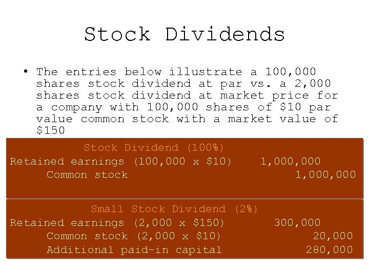 Stock Dividends • The entries below illustrate a 100, 000 shares stock dividend at