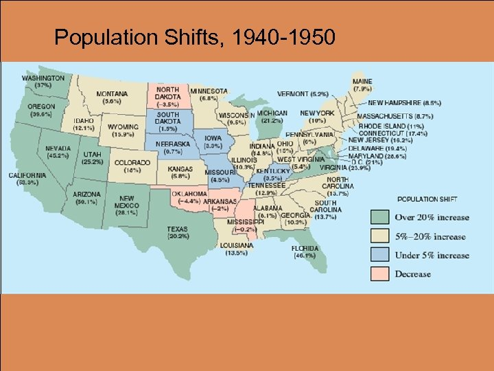 Population Shifts, 1940 -1950