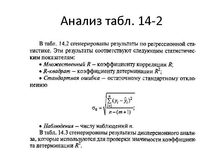 Анализ табл. 14 -2