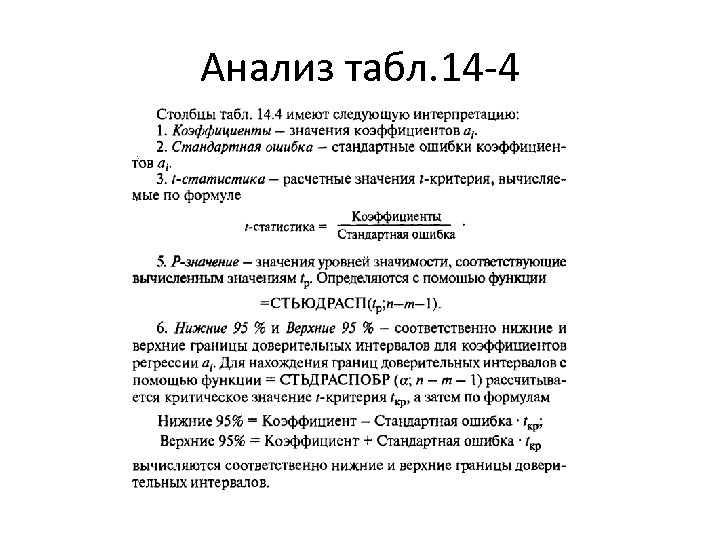 Анализ табл. 14 -4