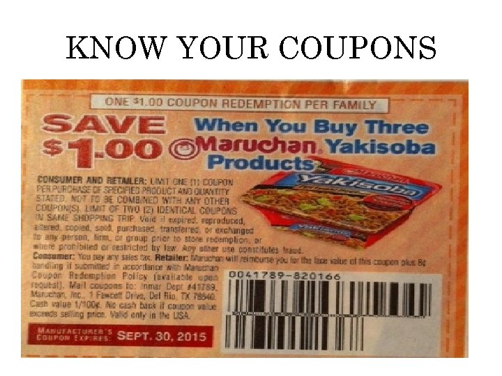 KNOW YOUR COUPONS
