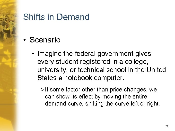 Shifts in Demand • Scenario § Imagine the federal government gives every student registered
