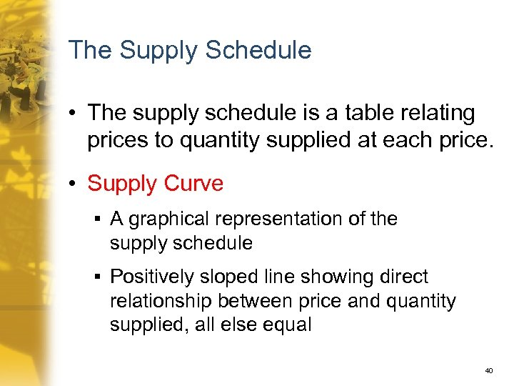 The Supply Schedule • The supply schedule is a table relating prices to quantity