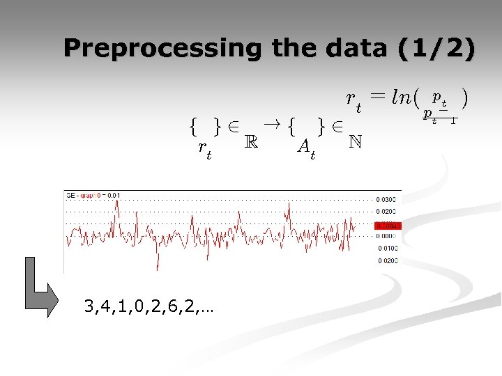 Preprocessing the data (1/2) rt = ln( f g 2 !f g 2 R