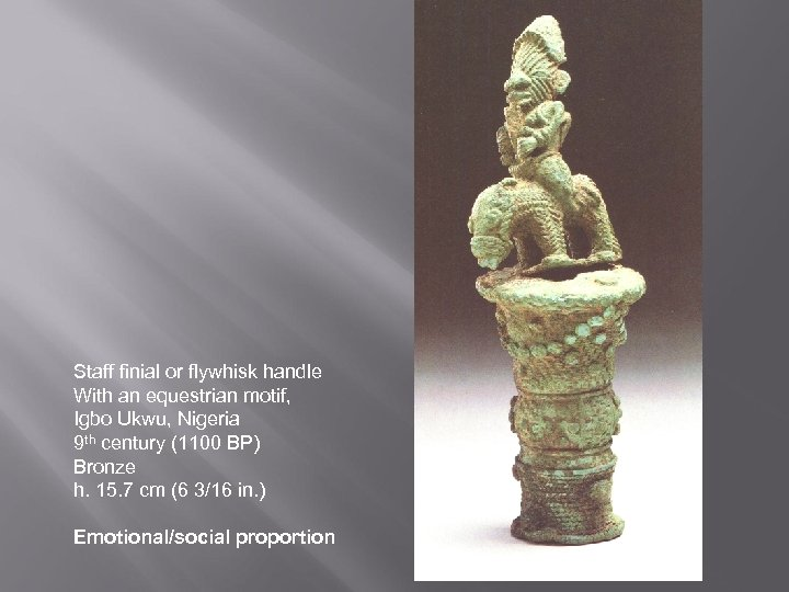 Staff finial or flywhisk handle With an equestrian motif, Igbo Ukwu, Nigeria 9 th