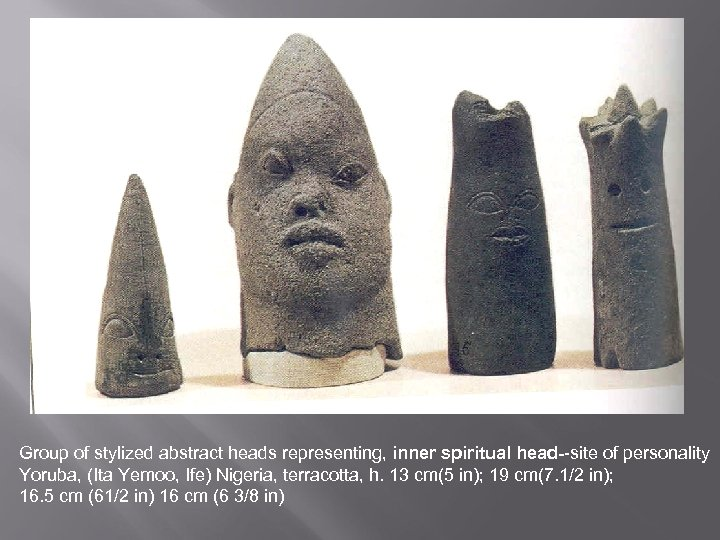 Group of stylized abstract heads representing, inner spiritual head--site of personality Yoruba, (Ita Yemoo,