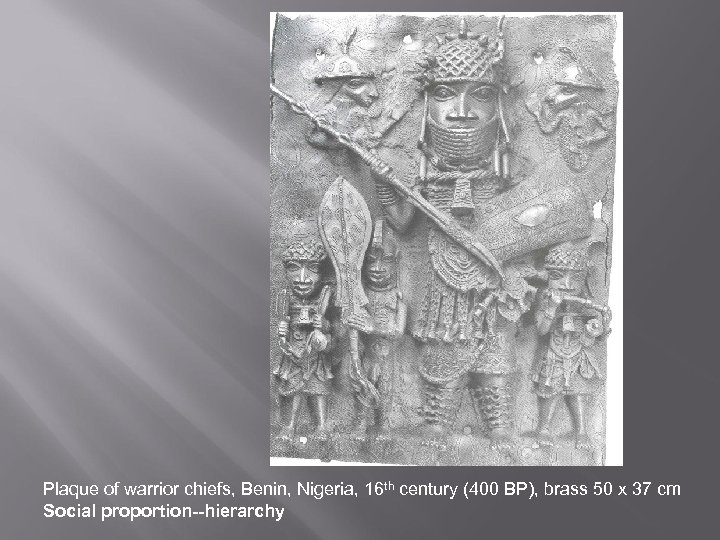 Plaque of warrior chiefs, Benin, Nigeria, 16 th century (400 BP), brass 50 x