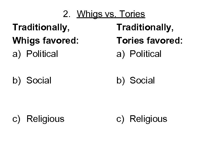 2. Whigs vs. Tories Traditionally, Whigs favored: Tories favored: a) Political b) Social c)