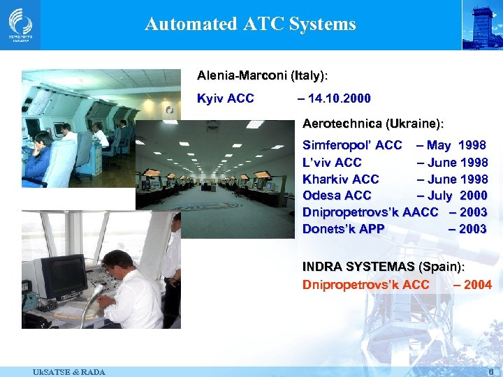 Automated ATC Systems Alenia-Marconi (Italy): Kyiv ACC – 14. 10. 2000 Aerotechnica (Ukraine): Simferopol'