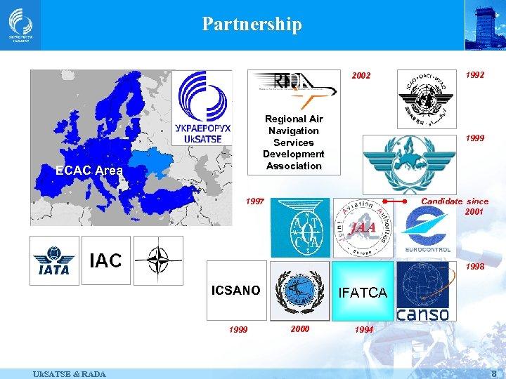 Partnership 2002 Regional Air Navigation Services Development Association ECAC Area 1992 1999 1997 Candidate