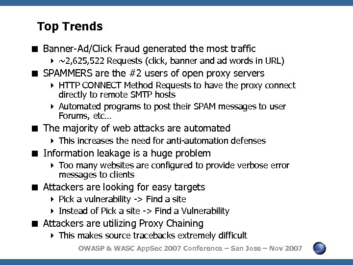 Top Trends < Banner-Ad/Click Fraud generated the most traffic 4 ~2, 625, 522 Requests