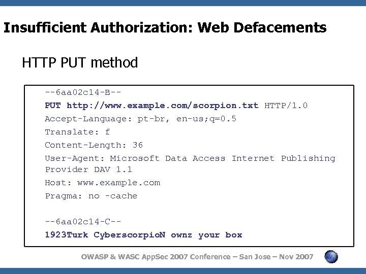 Insufficient Authorization: Web Defacements HTTP PUT method --6 aa 02 c 14 -B-PUT http: