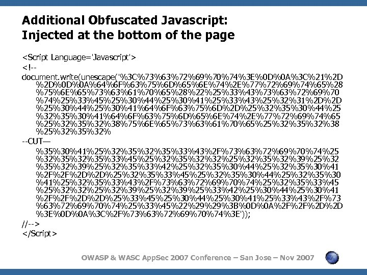 Additional Obfuscated Javascript: Injected at the bottom of the page <Script Language='Javascript'> <!-document. write(unescape('%3
