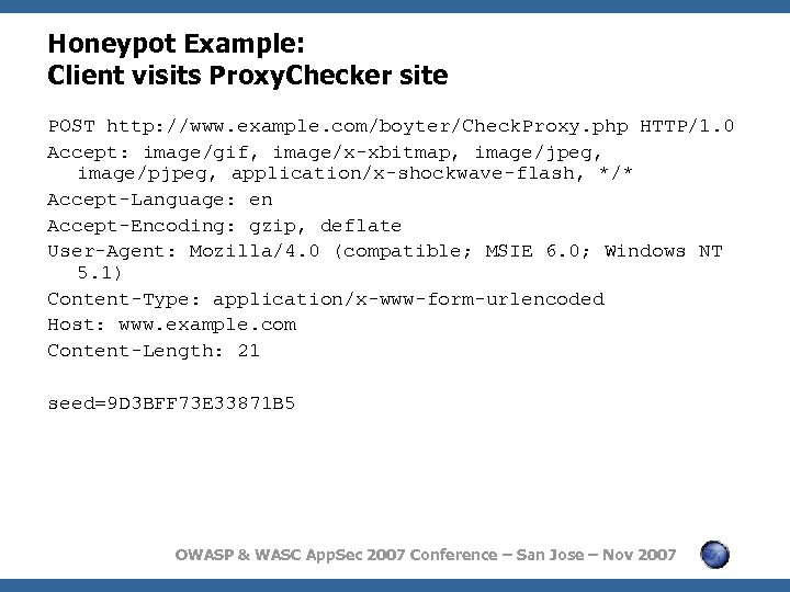 Honeypot Example: Client visits Proxy. Checker site POST http: //www. example. com/boyter/Check. Proxy. php