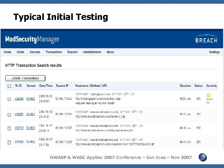 Typical Initial Testing OWASP & WASC App. Sec 2007 Conference – San Jose –