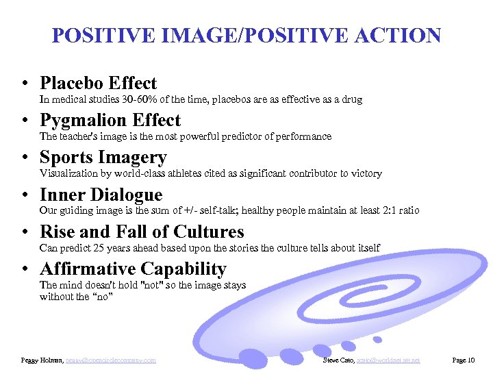 POSITIVE IMAGE/POSITIVE ACTION • Placebo Effect In medical studies 30 -60% of the time,