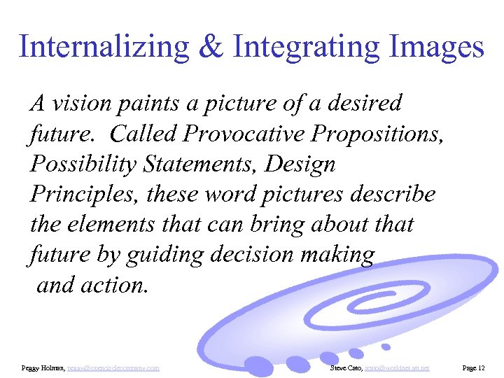 Internalizing & Integrating Images A vision paints a picture of a desired future. Called