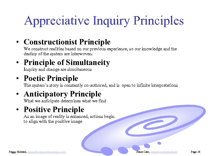 Appreciative Inquiry Principles • Constructionist Principle We construct realities based on our previous experience,