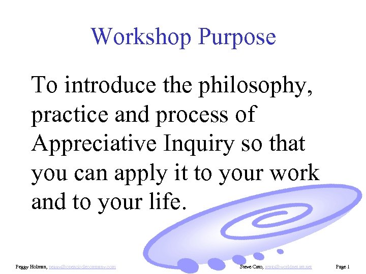 Workshop Purpose To introduce the philosophy, practice and process of Appreciative Inquiry so that