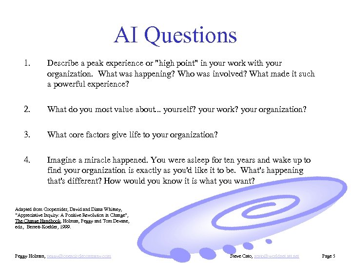 AI Questions 1. Describe a peak experience or