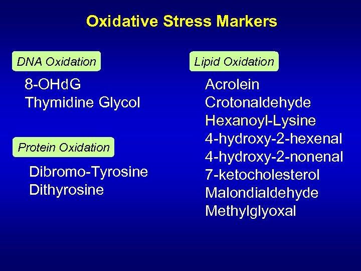 Oxidative Stress Markers DNA Oxidation 8 -OHd. G Thymidine Glycol Protein Oxidation Dibromo-Tyrosine Dithyrosine