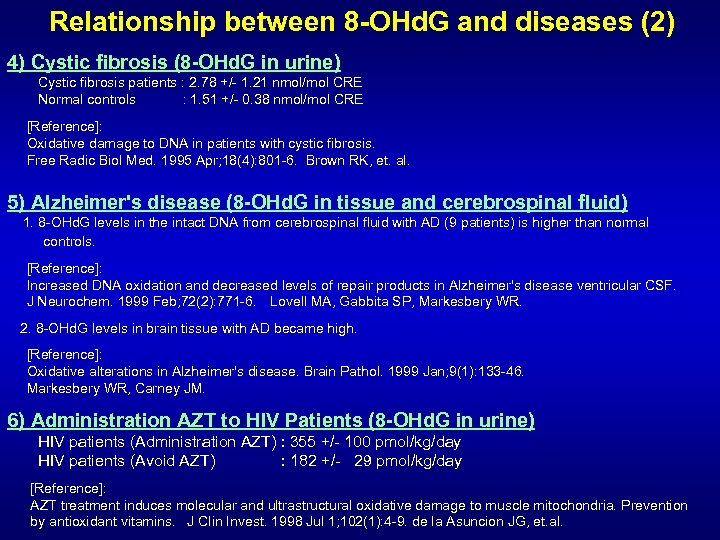 Relationship between 8 -OHd. G and diseases (2) 4) Cystic fibrosis (8 -OHd. G