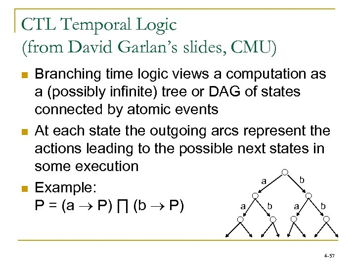 CTL Temporal Logic (from David Garlan's slides, CMU) n n n Branching time logic