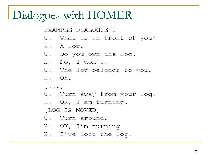 Dialogues with HOMER 4 -74