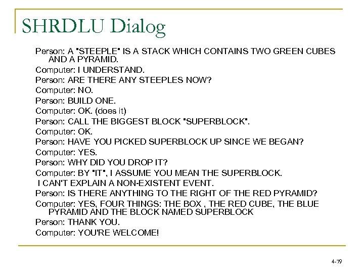 SHRDLU Dialog Person: A