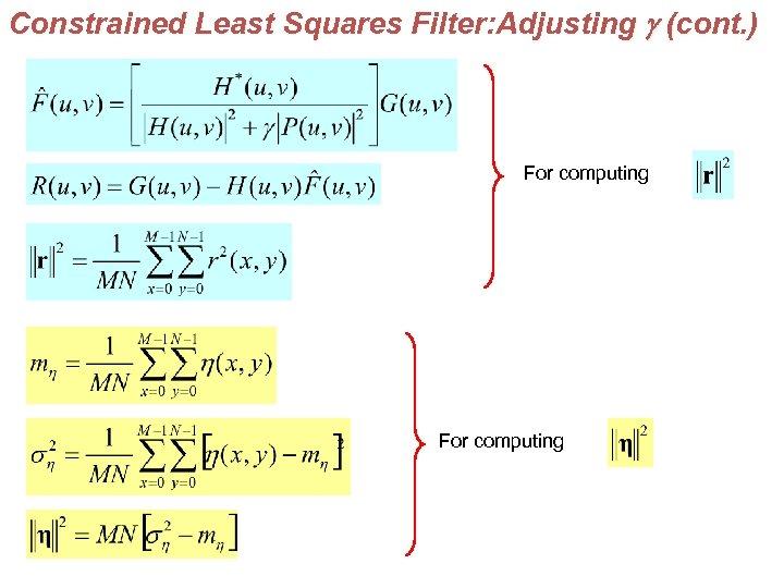 IMAGE RESTORATION Outline A model of