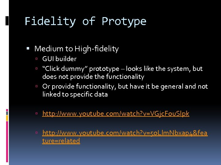 "Fidelity of Protype Medium to High-fidelity GUI builder ""Click dummy"" prototype – looks like"