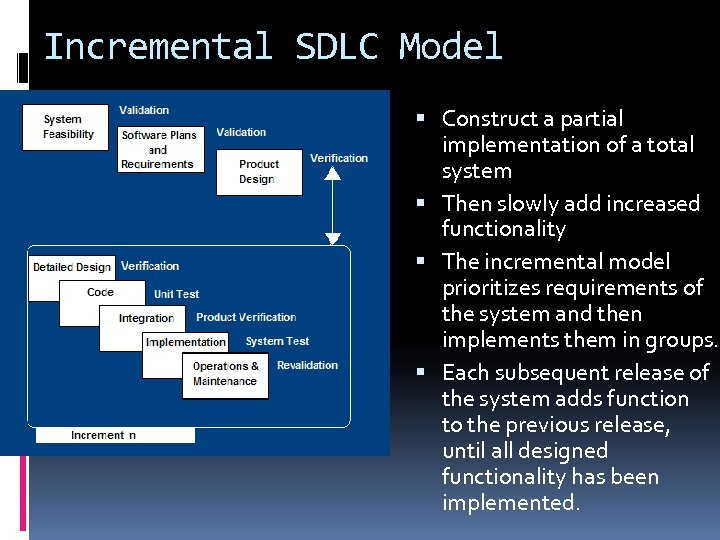 Incremental SDLC Model Construct a partial implementation of a total system Then slowly add
