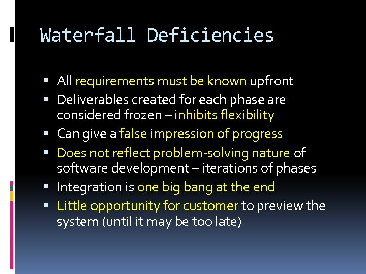 Waterfall Deficiencies All requirements must be known upfront Deliverables created for each phase are
