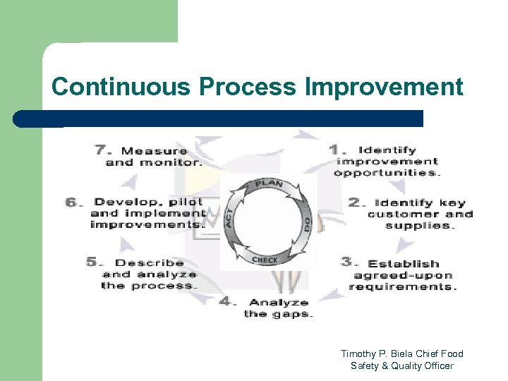 Continuous Process Improvement Timothy P. Biela Chief Food Safety & Quality Officer