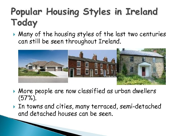 Popular Housing Styles in Ireland Today Many of the housing styles of the