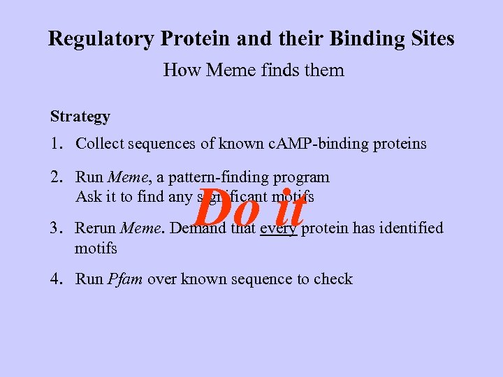 Regulatory Protein and their Binding Sites How Meme finds them Strategy 1. Collect sequences