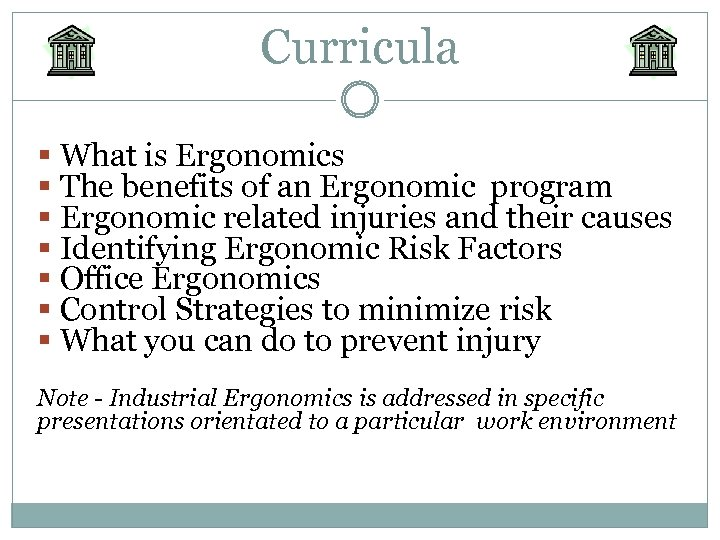 Curricula § What is Ergonomics § The benefits of an Ergonomic program § Ergonomic