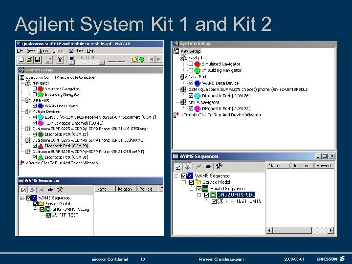 Agilent System Kit 1 and Kit 2 Ericsson Confidential 16 Praveen Chandrasekaran 2006 -05
