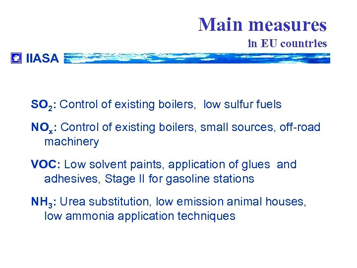 Main measures in EU countries IIASA SO 2: Control of existing boilers, low sulfur