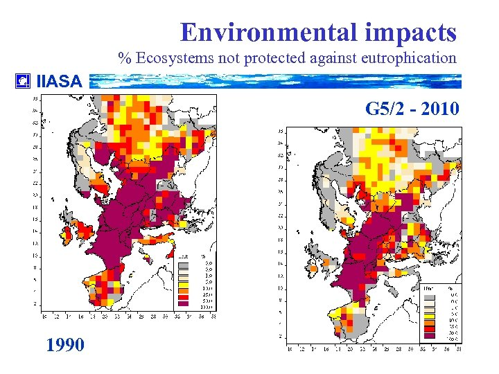Environmental impacts % Ecosystems not protected against eutrophication IIASA G 5/2 - 2010 1990