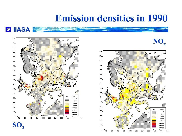 Emission densities in 1990 IIASA NOx SO 2