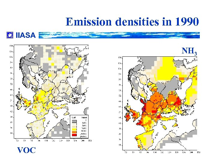 Emission densities in 1990 IIASA NH 3 VOC