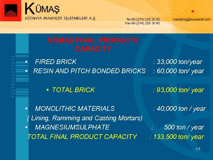 KÜMAŞ FINAL PRODUCTS CAPACITY • FIRED BRICK • RESIN AND PITCH BONDED BRICKS •