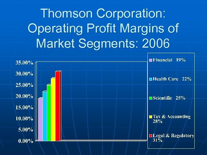 Thomson Corporation: Operating Profit Margins of Market Segments: 2006