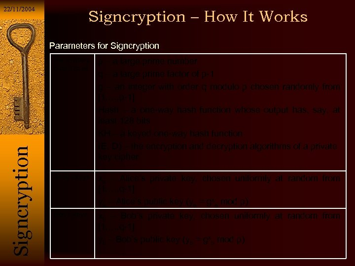 22/11/2004 Signcryption – How It Works Parameters for Signcryption Si g n c r